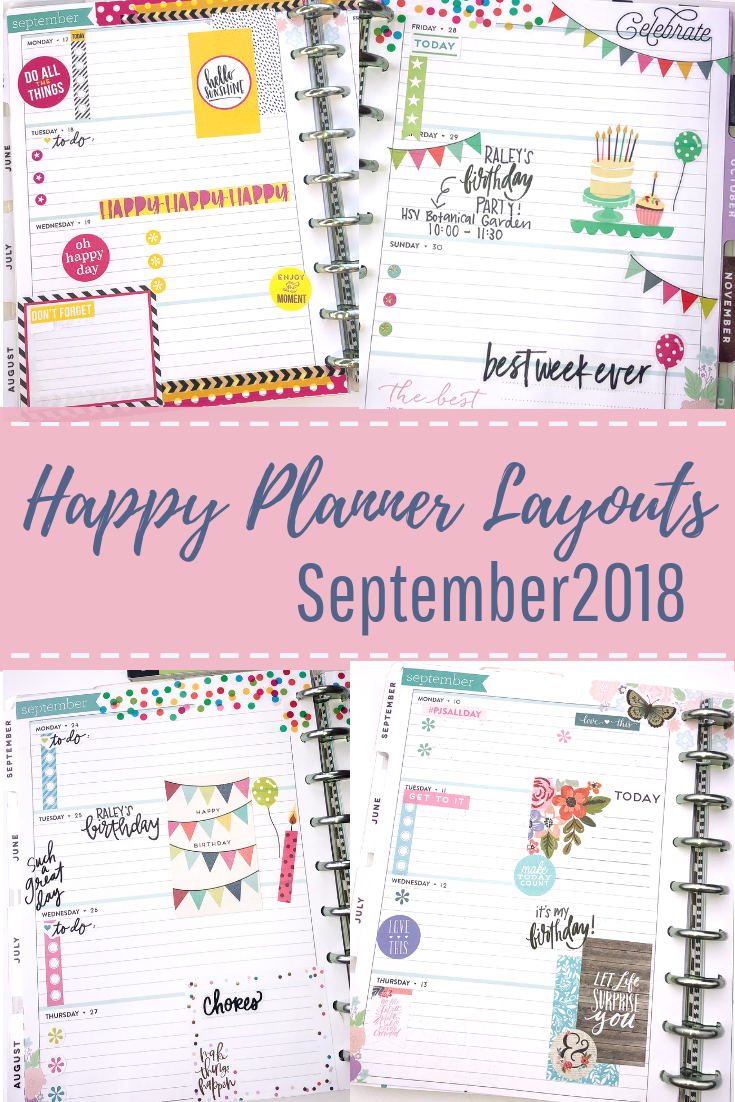 September 2018 Happy Planner Spreads - Poppy + Grace