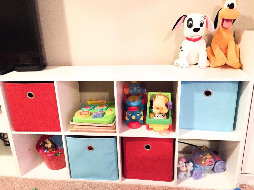 Playroom makeover and organization. Storage for playroom. Playroom reading nook
