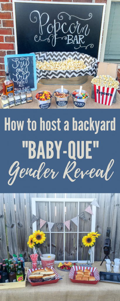 Backyard Baby-Que Gender Reveal Party. Vintage BBQ party. Popcorn bar.