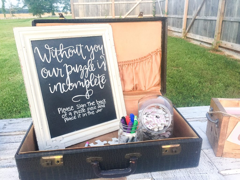 Handlettered chalkboard signs. Wedding chalkboard signs. Without you our puzzle is incomplete chalkboard sign for wedding ceremony guest book. Wedding reception chalkboard sign. Wedding ceremony chalkboard sign.