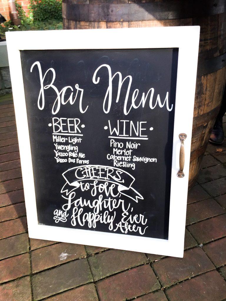 Handlettered chalkboard signs. Wedding chalkboard signs. Bar menu chalkboard sign for wedding reception. Wedding reception chalkboard sign. Wedding ceremony chalkboard sign.