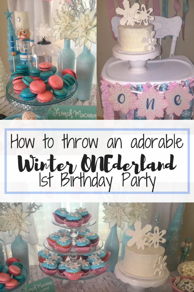 Winter ONEderland 1st birthday party decoration ideas. Food table backdrop and decorations. Hot chocolate and coffee bar chalkboard sign. Winter ONEderland hot chocolate party favors. First birthday outfit. Snowflake smash cake. French macarons. Happy Birthday banner