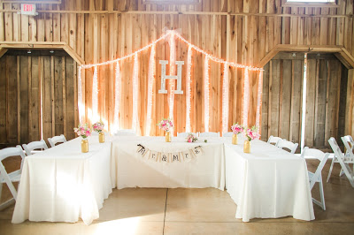Rustic barn wedding meets vintage fairy tale. Meadow Creek Farm North Alabama Wedding Venue. Vintage Beauty and the Beast inspired wedding reception decoration ideas. Wedding party lighted table backdrop