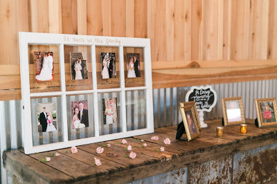 Rustic barn wedding meets vintage fairy tale. Meadow Creek Farm North Alabama Wedding Venue. Vintage Beauty and the Beast inspired wedding reception decoration ideas. Window pane with photos