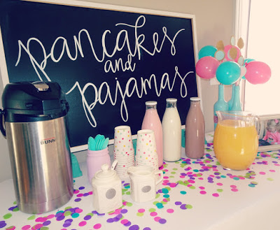 Pancakes and Pajamas birthday party decoration ideas. Food table. Pancake cake. Brunch