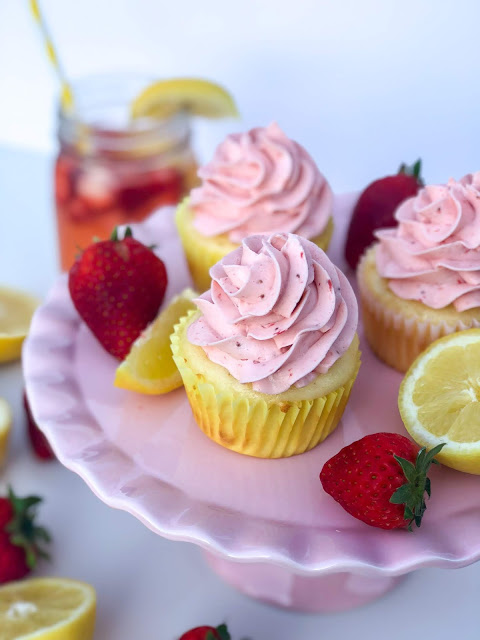 Strawberry Lemonade Cupcake Recipe. Lemon cupcakes with strawberry puree buttercream frosting. Beautiful summer dessert