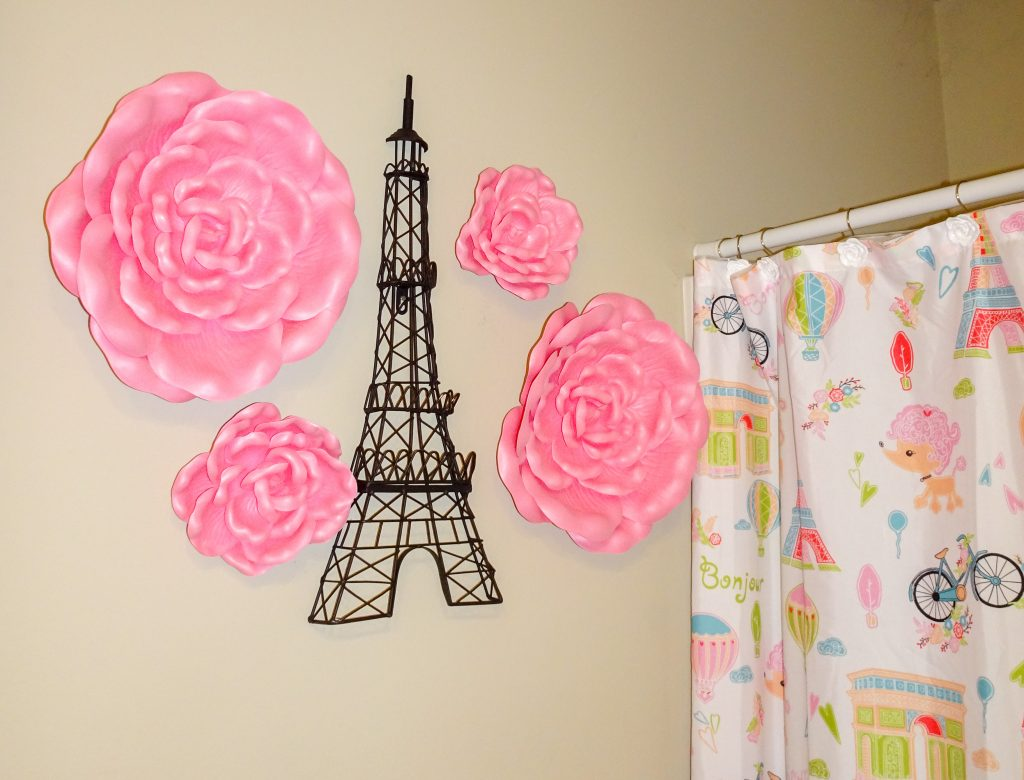 Little girls bathroom decor ideas. Girly pink parisian bathroom makeover for toddlers or big girls.