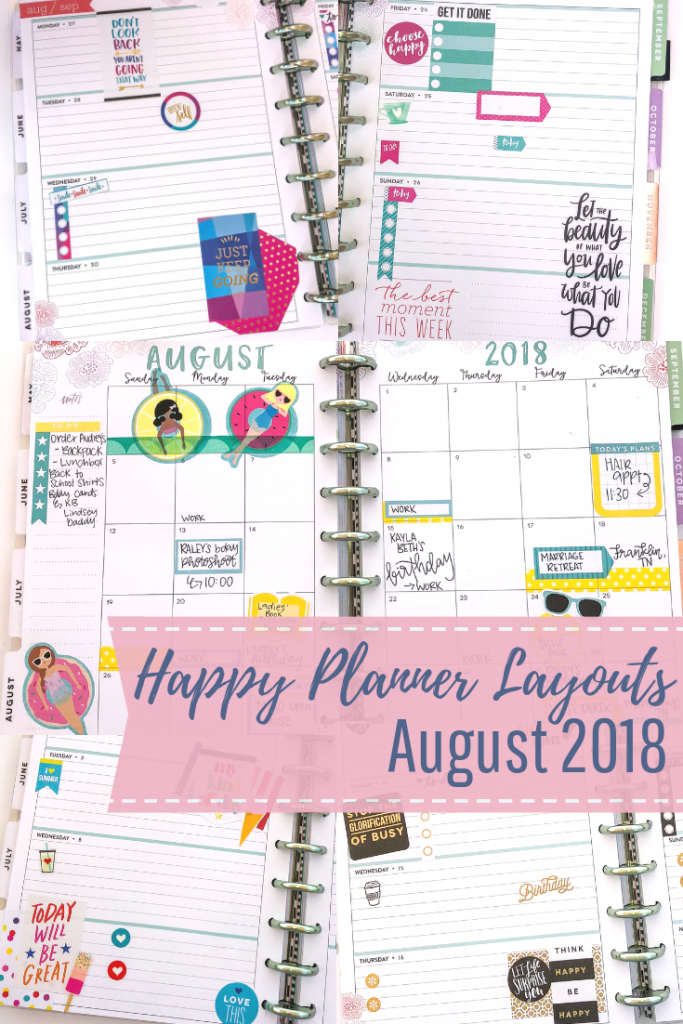 Happy Planner spreads for the month of August. Monthly Happy Planner layout. Horizontal weekly Happy Planner layout