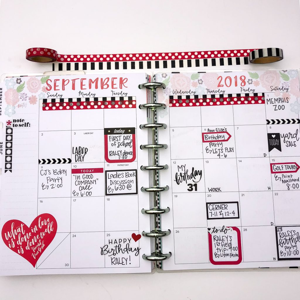 Happy Planner spreads for the month of September. Monthly Happy Planner layout. Horizontal weekly Happy Planner layout