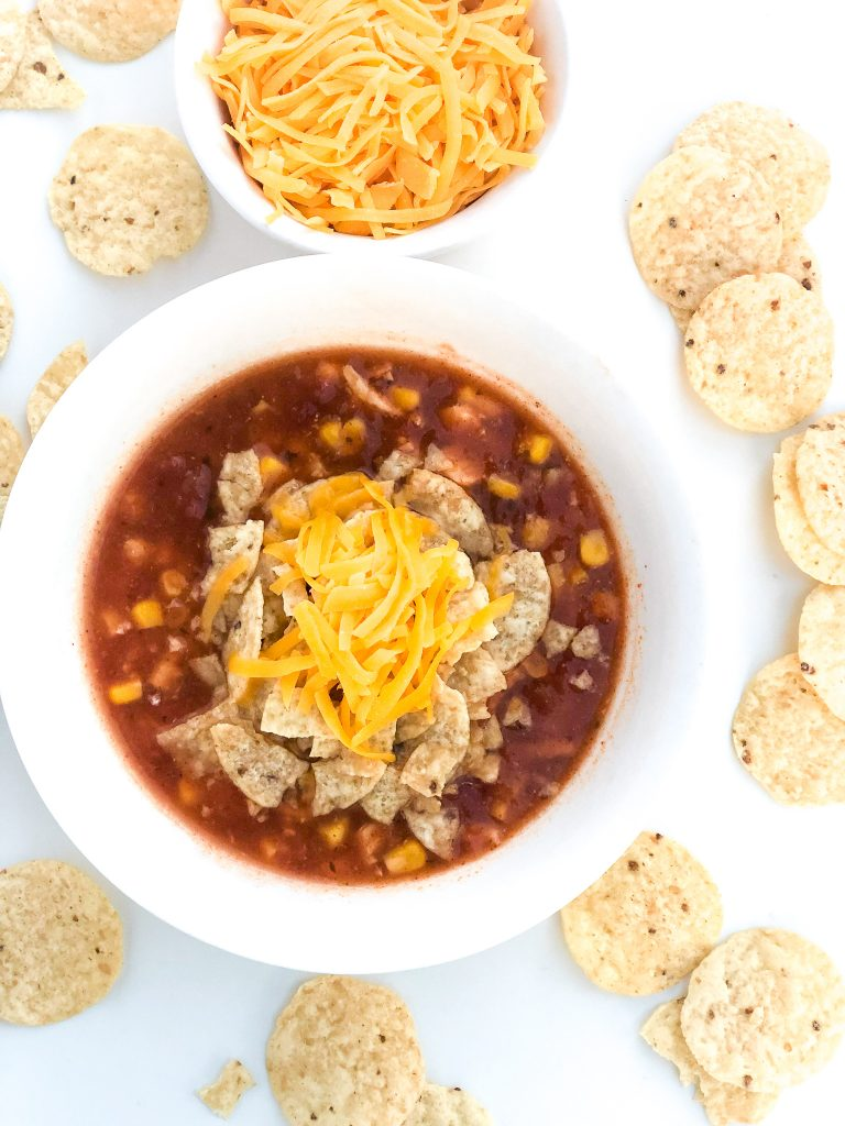 Quick and easy slow cooker chicken enchilada soup recipe. Crock pot enchilada soup recipe.