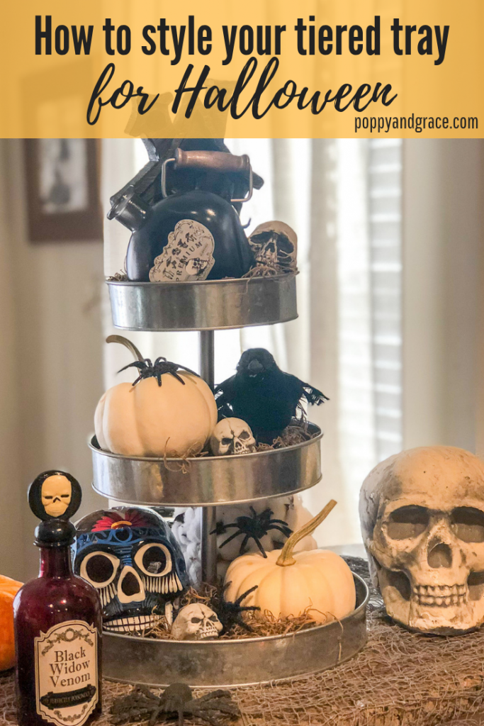 Halloween decorations. Outdoor Halloween decoration ideas. Indoor Halloween decorations. Scary Halloween decorations. how to style your tiered tray for Halloween. Three tiered stand decor