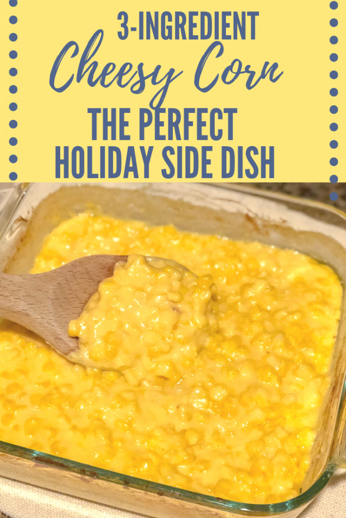 Cheesy corn recipe. This creamy cheesy corn recipe is the perfect side dish. Easy Holiday side dish. Cheesy corn holiday side dish. Christmas side dish. Thanksgiving side dish