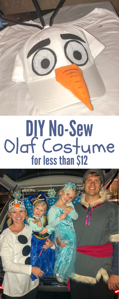 DIY No-sew Olaf costume. Easy to make Olaf costume. Cheap Olaf costume - made for <$12!