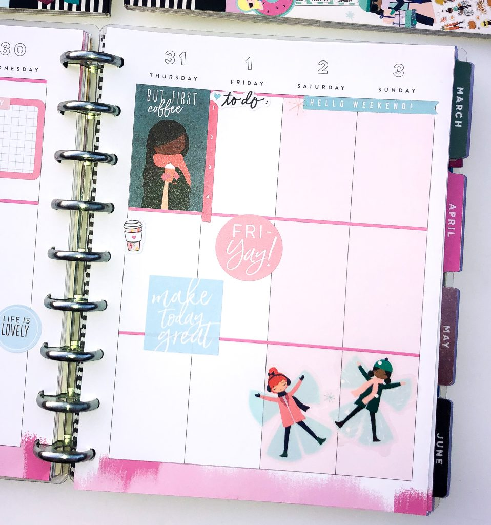 Happy Planner spreads for the month of January. Monthly Happy Planner layout. Vertical weekly Happy Planner layout.