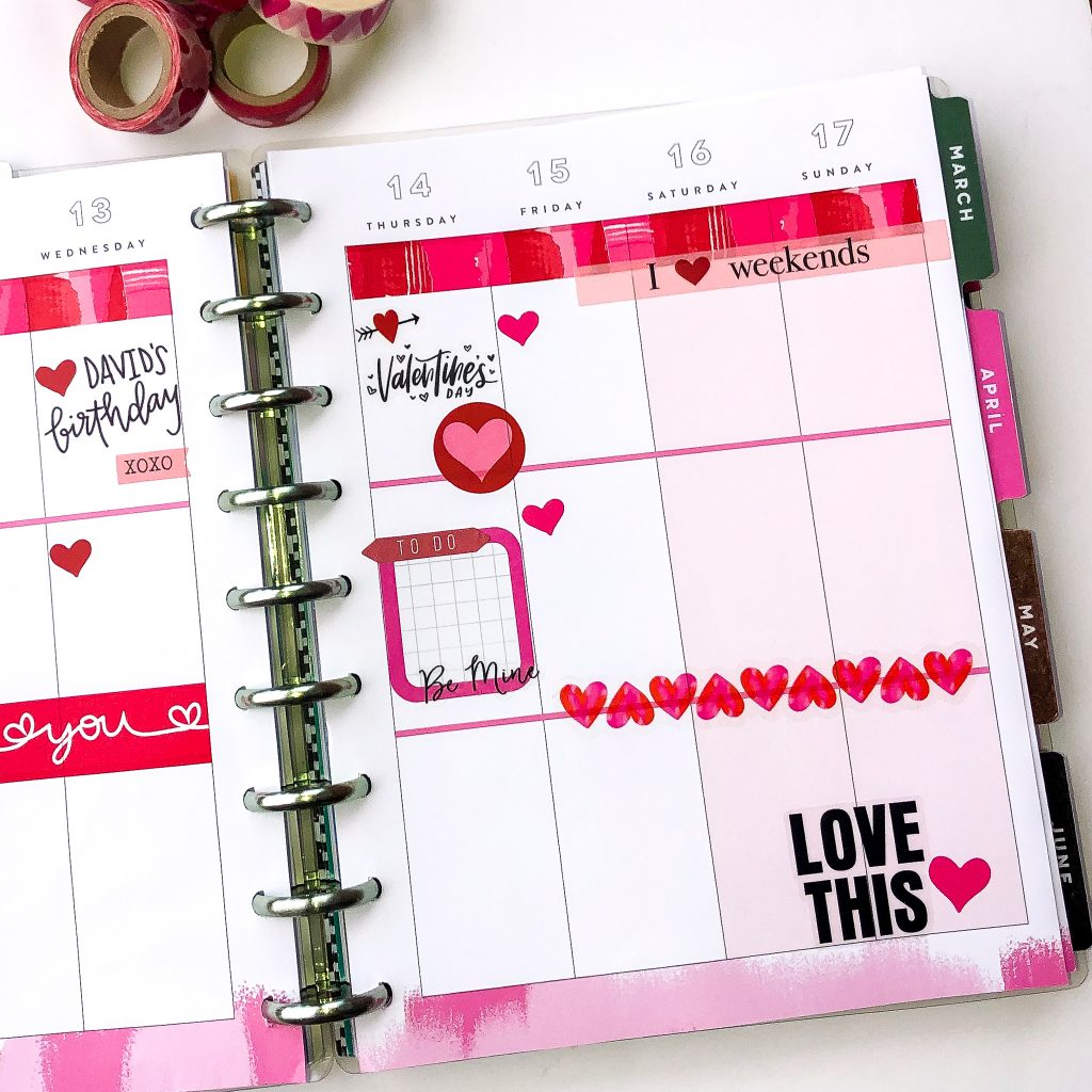 Happy Planner spreads for the month of February. Monthly Happy Planner layout. Vertical Weekly Happy Planner layout. Valentine's Day Happy Planner Spread
