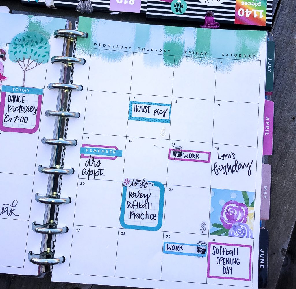 Happy Planner spreads for the month of March. Spring Happy Planner Spread. Monthly Happy Planner layout. Vertical weekly Happy Planner layout.