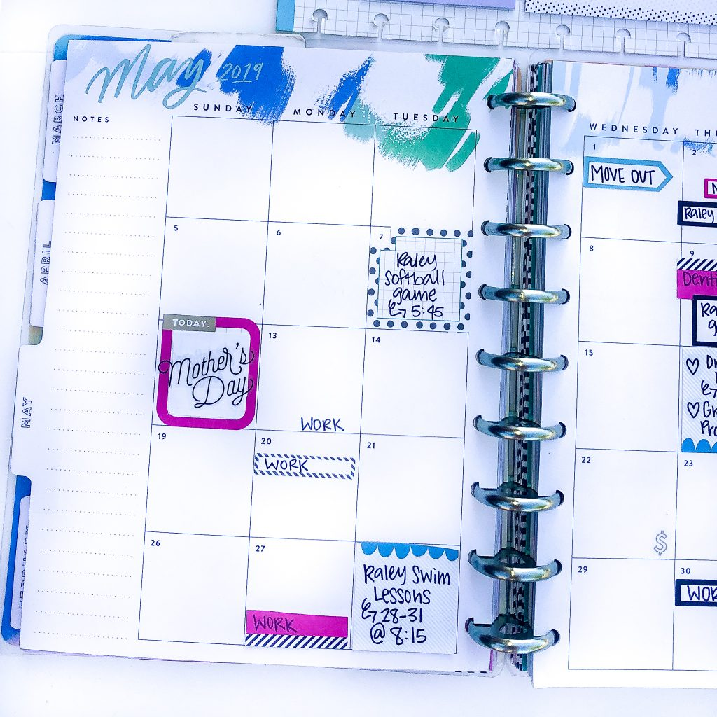 Happy Planner spreads for the month of April. Spring Happy Planner Spread. Socialite Happy Planner spread. Monthly Happy Planner layout. Vertical weekly Happy Planner layout.