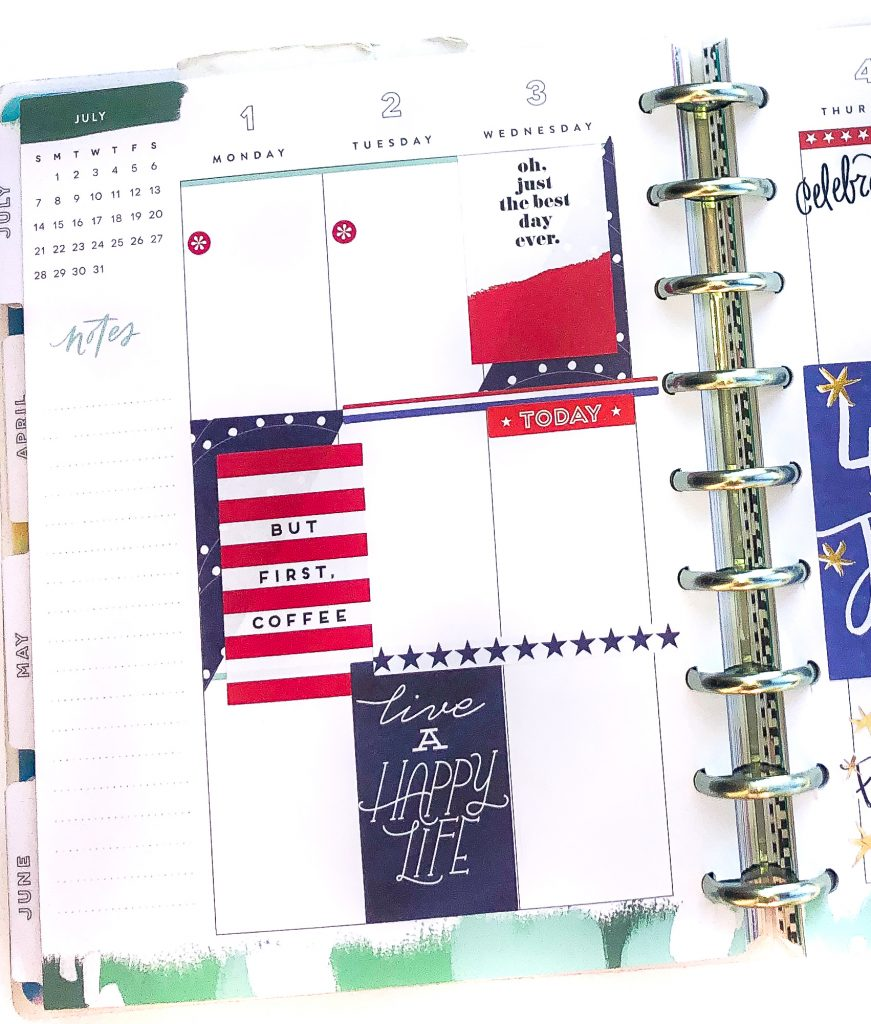 Happy Planner spreads for the month of July. Summer Happy Planner Spread. Monthly Happy Planner layout. Vertical weekly Happy Planner layout.