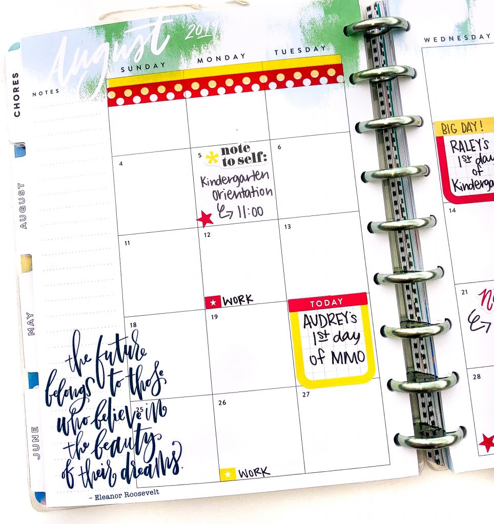 Happy Planner spreads for the month of August. Back to school happy planner spread. Summer Happy Planner Spread. Monthly Happy Planner layout. Vertical weekly Happy Planner layout.