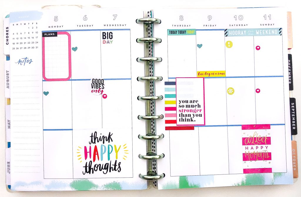 Happy Planner spreads for the month of August. Summer Happy Planner Spread. Monthly Happy Planner layout. Vertical weekly Happy Planner layout.