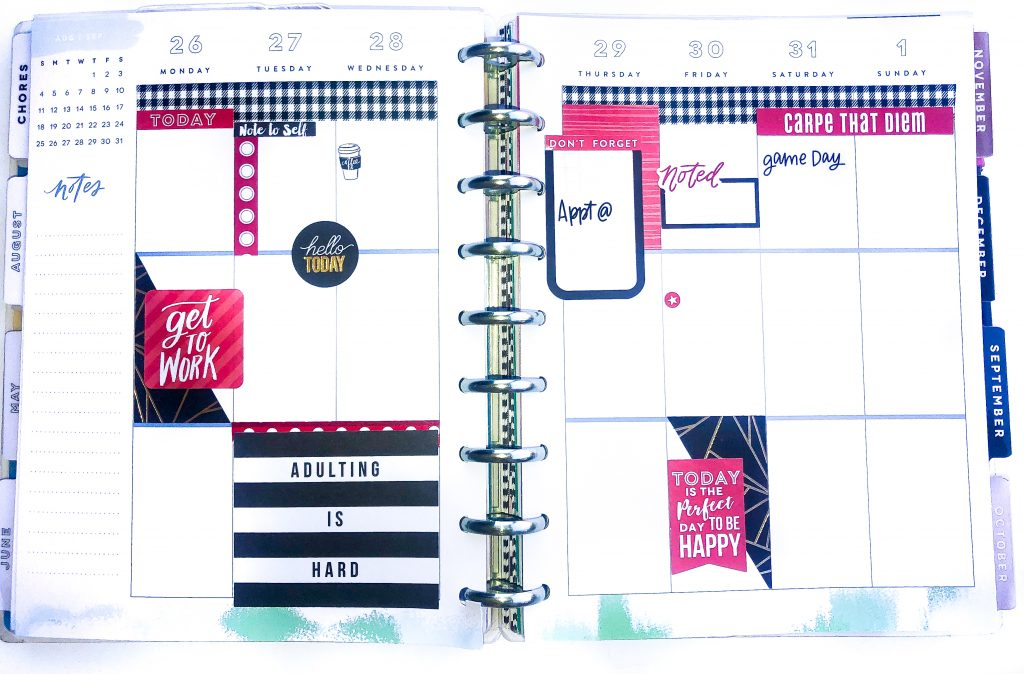 Happy Planner spreads for the month of August. Summer Happy Planner Spread. Alabama football houndstooth happy planner spread. Monthly Happy Planner layout. Vertical weekly Happy Planner layout.