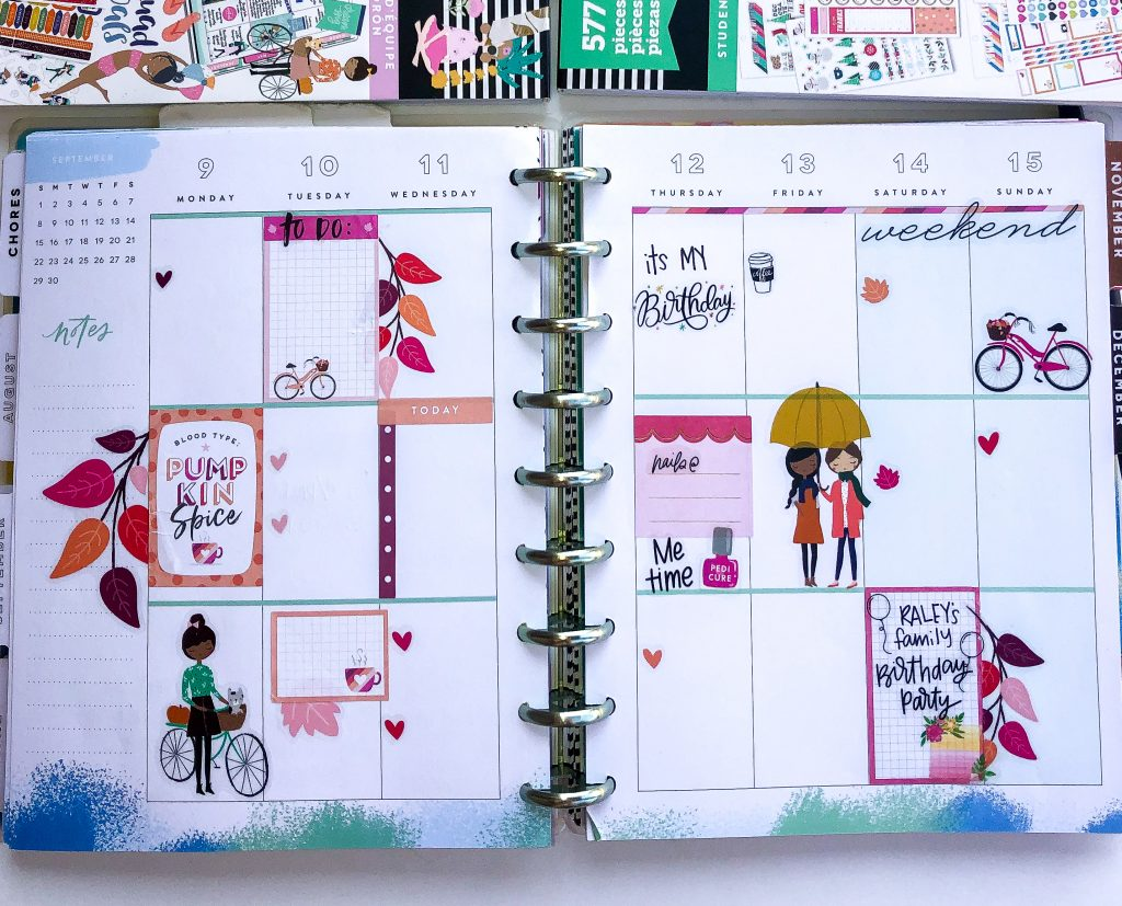 Happy Planner spreads for the month of September. Fall Happy Planner Spread. Monthly Happy Planner layout. Vertical weekly Happy Planner layout.