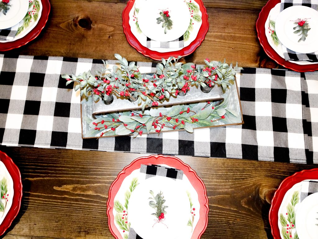 Farmhouse Christmas decor. Buffalo plaid and red Christmas decor. Farmhouse Christmas home tour 2019. Rustic Christmas decor. Buffalo plaid Christmas tablescape. Buffalo check Christmas tablescape