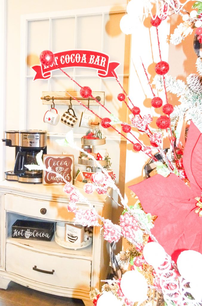 Farmhouse Christmas decor. Buffalo plaid and red Christmas decor. Farmhouse Christmas home tour 2019. Rustic Christmas decor. Rustic hot cocoa bar. Farmhouse hot chocolate bar