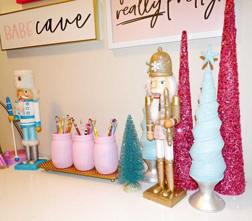 Blue and pink Christmas decor. Blue and pink Disney Christmas tree. Blue and pink Christmas tree. Girls' playroom Christmas decor
