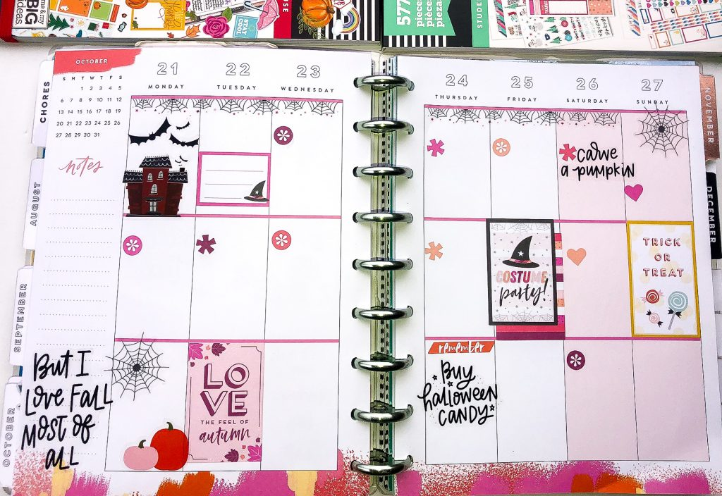 Happy Planner spreads for the month of October. Fall Happy Planner Spread. Halloween Happy Planner Spread. Monthly Happy Planner layout. Vertical weekly Happy Planner layout.