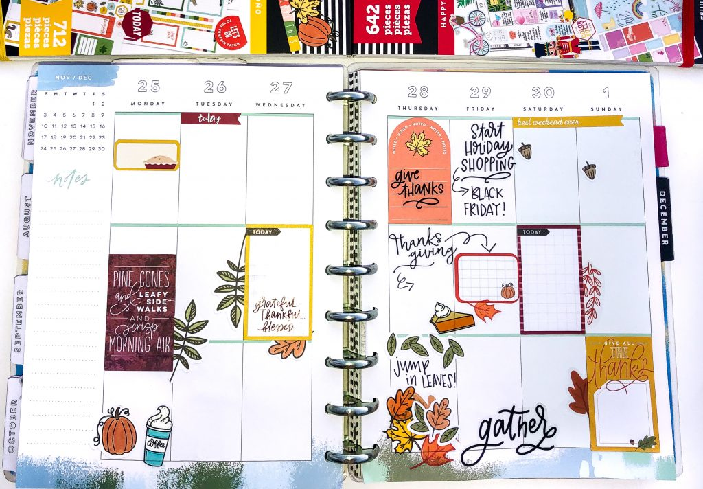 Happy Planner spreads for the month of November. Fall Happy Planner Spread. Monthly Happy Planner layout. Vertical weekly Happy Planner layout.