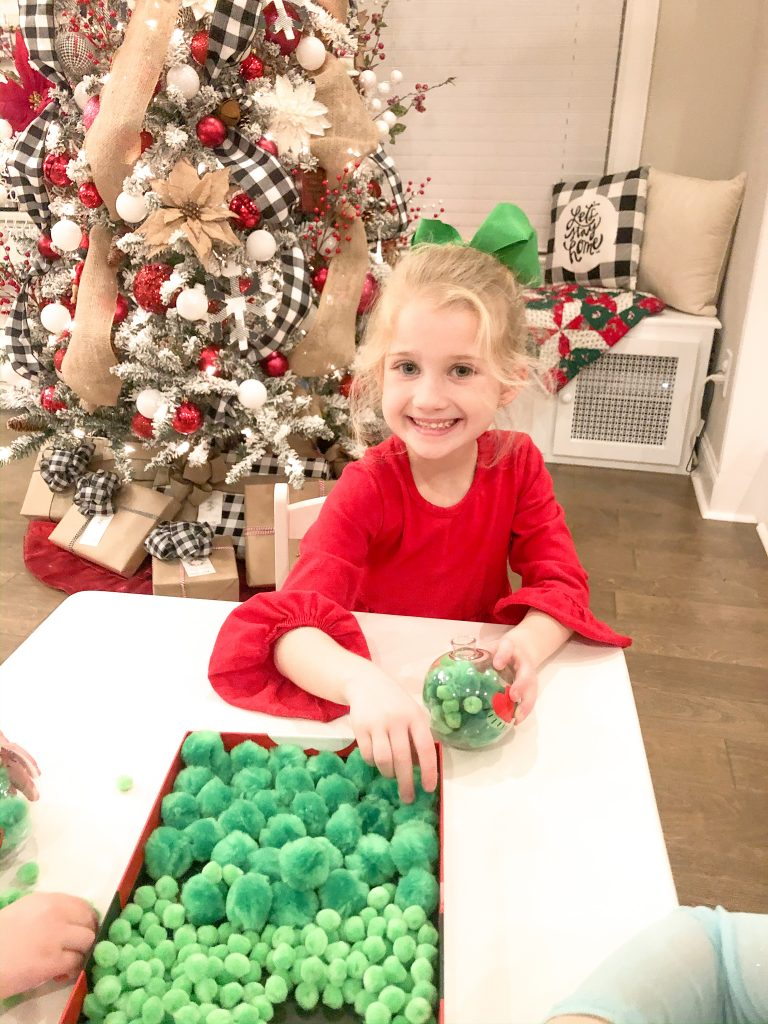 How to throw a Family Grinch Night. Grinch pancakes, Grinch dessert, Grinch craft. How to make a Grinch ornament. Family Grinch Night tips