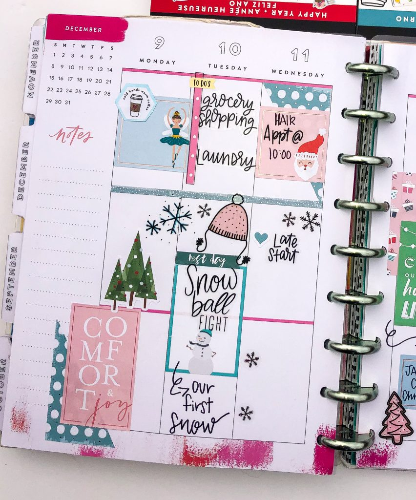 Happy Planner spreads for the month of December. Winter Happy Planner Spread.  Christmas Happy Planner spreads. Monthly Happy Planner layout. Vertical weekly Happy Planner layout.