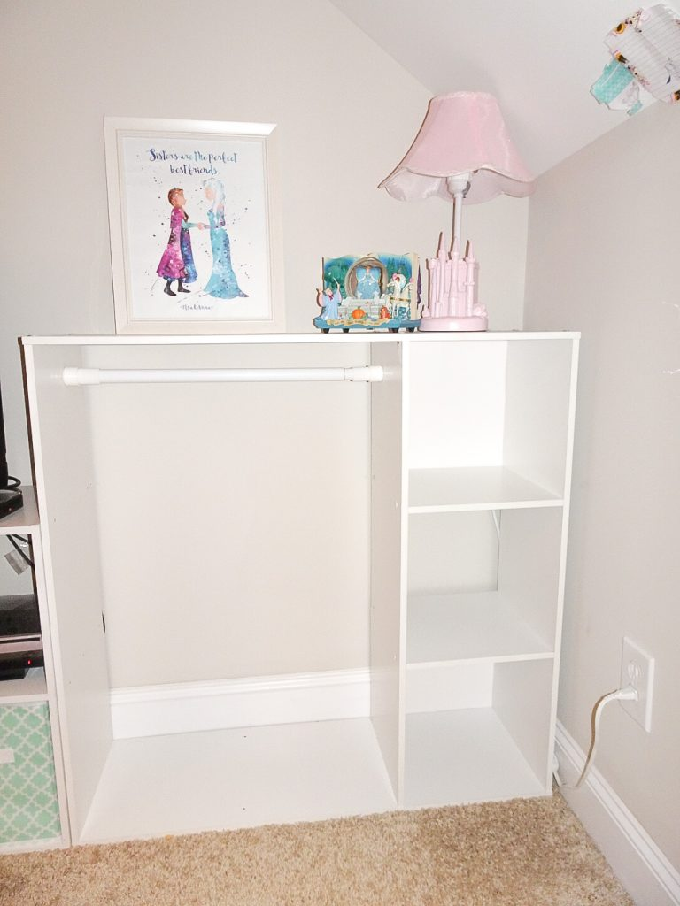 How to create a simple DIY dress up storage solution. Dress up storage using a cube organizer. Quick and simple dress up storage solution