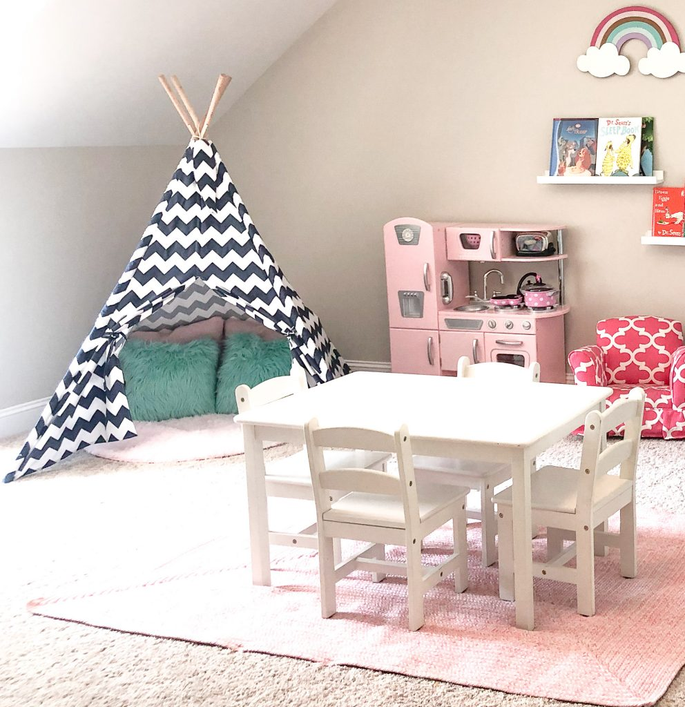 Mint and pink girly playroom. Playroom decor. Girls playroom decor. Playroom layout. Playroom with bunk beds. Girls bunk beds.