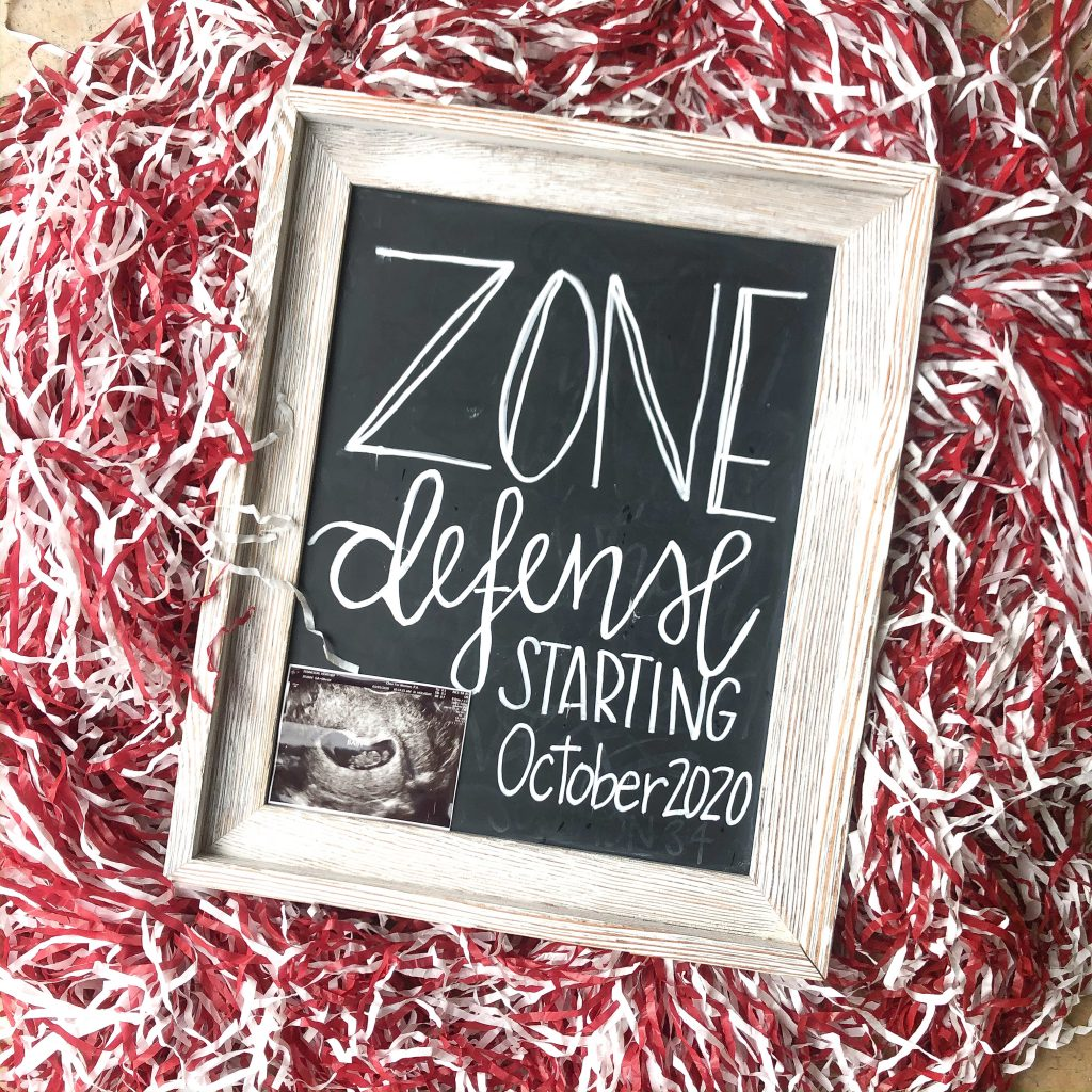 Zone Defense pregnancy reveal. Third baby pregnancy announcement. Zone defense pregnancy announcement. We're pregnant! Football pregnancy announcement