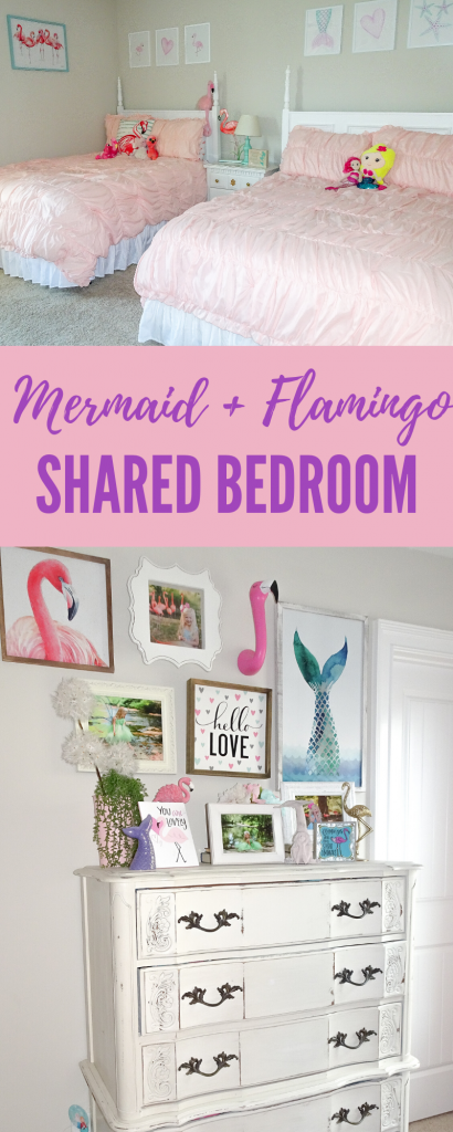 Mermaid and flamingo shared girls' bedroom. Flamingo and mermaid bedroom decor. Flamingo bedroom decor. Mermaid bedroom decor. Shared bedroom organization . Sibling shared bedroom.