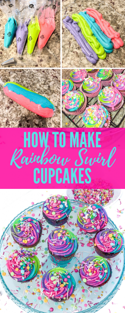 How to make rainbow swirl cupcakes and frosting. How to make tie-dye rainbow swirl cupcakes. How to make rainbow swirl frosting for cupcakes. Rainbow swirl sprinkle explosion cupcakes