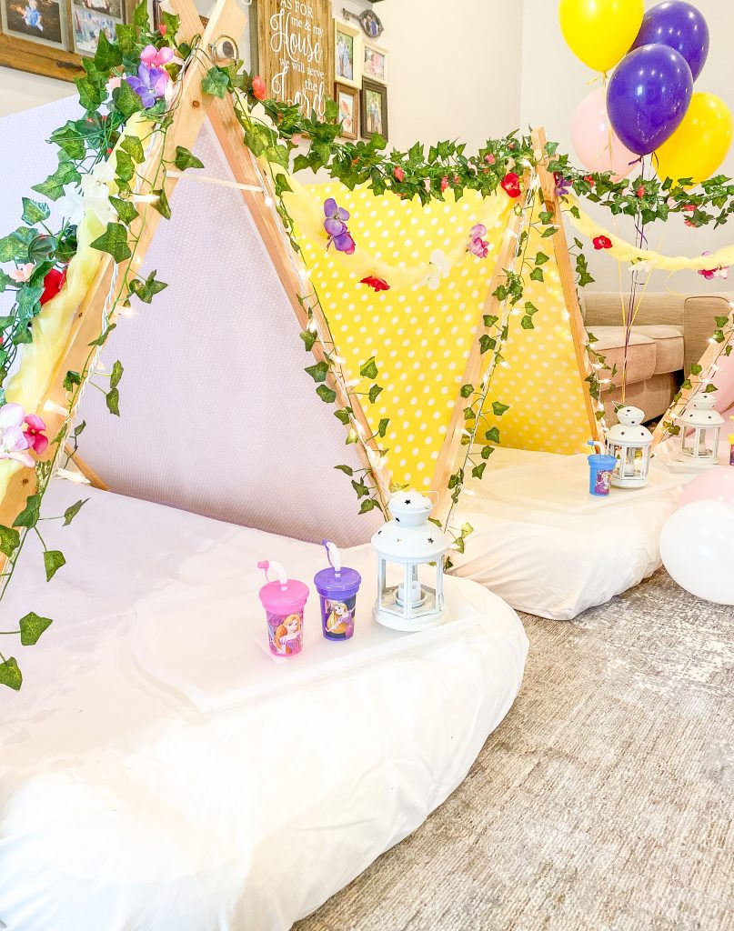Rapunzel birthday party. Rapunzel sleepover with Southern Sleepovers. Rapunzel food ideas. Rapunzel backdrop. Rapunzel cupcake tower. Tangled theme birthday party. DIY paper lanterns