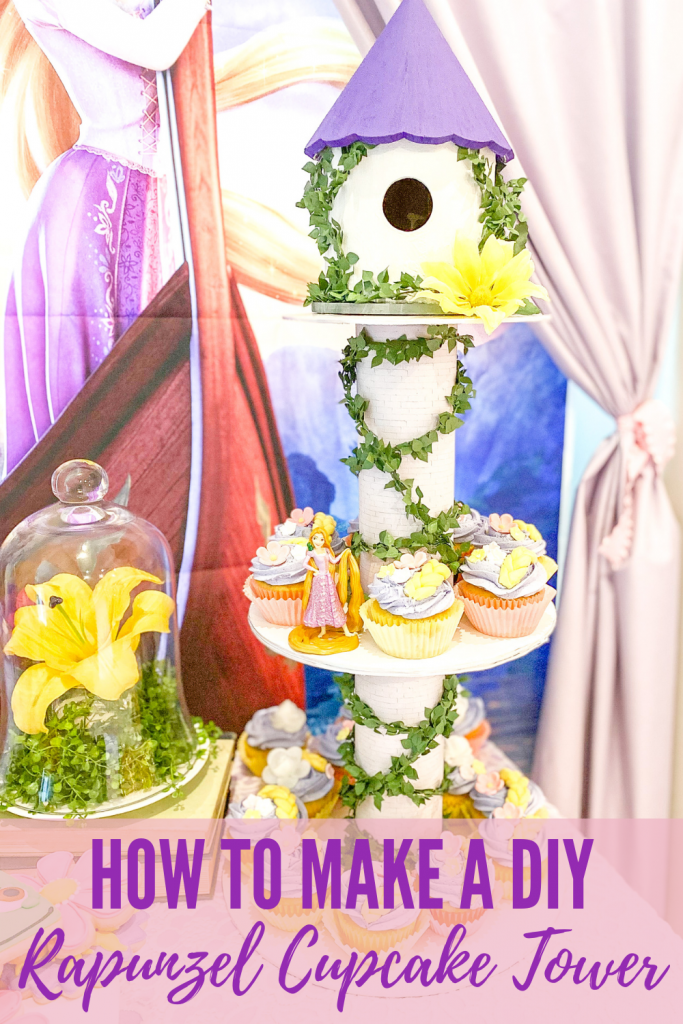How to make a DIY Rapunzel cupcake tower. How to make a Rapunzel tower. DIY cupcake tower. Easy DIY Rapunzel cupcake tower for Rapunzel birthday party