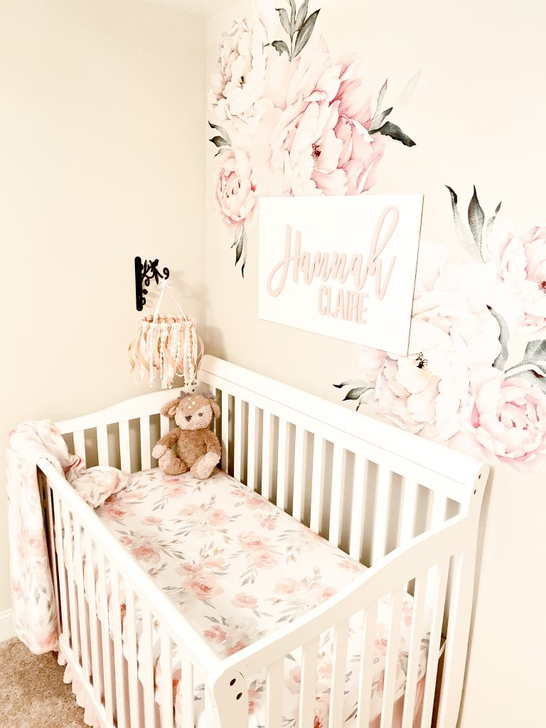 Neutral and pink nursery. Natural wood nursery decor. Neutral and pink nursery decor. Girly woodland nursery. floral nursery wall decal. Wooden name sign for nursery. Light pink baby nursery.