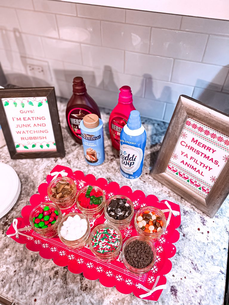 """Home Alone family movie night. Kevin Sundaes. Ice cream sundae bar. Christmas ice cream sundae bar. Home Alone ice cream sundaes. Printable Home Alone signs. """"Merry Christmas, ya filthy animal"""" sign."""